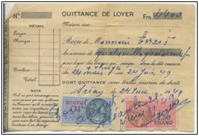 Acq_2014/162. Lot de 6 quittances de loyer pour M EVRARD -