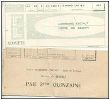 Acq_2014/164. Lot de documents Lorraine-Escaut Usine de SED
